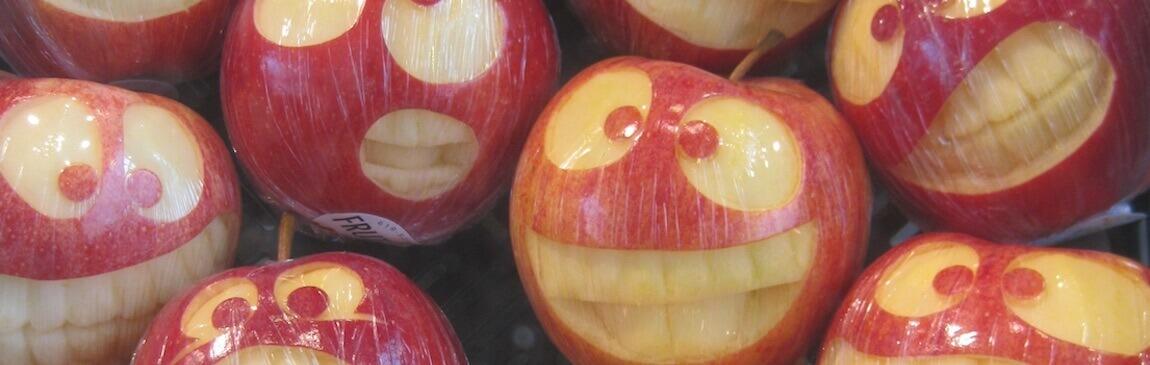lustige Apfelgesichter aus Äpfeln von Elbe-Obst