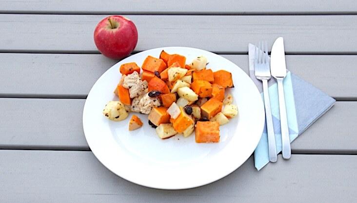 Rezept Kürbis-Süßkartoffel-Apfel-Hähnchen-Auflauf
